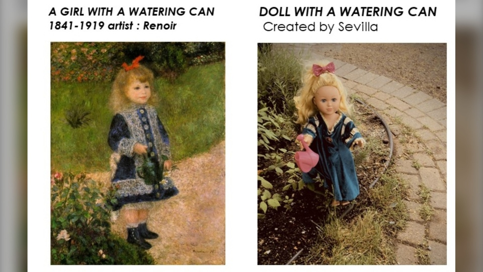 Doll with a watering can
