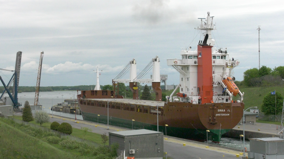 A cargo ship from the Netherlands exits the Iroquois locks on the St. Lawrence River. (Nathan Vandermeer / CTV News Ottawa)