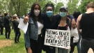 Nikki Onuah, Essi Amegbeto, and Marli Robinson at the Black Lives Matter rally in Kingston June 2, 2020. (Kimberley Johnson / CTV News Ottawa)