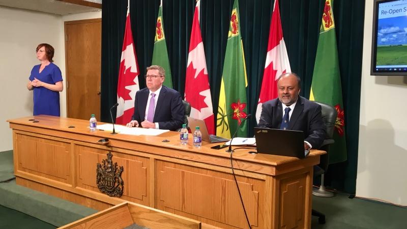 Saskatchewan Premier Scott Moe and Chief Medical Health Officer Dr. Saqib Shahab address the media on Tuesday, June 2, 2020. (Gareth Dillistone/CTV News)