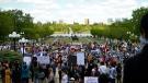 Hundreds of people gathered in front of the Saskatchewan Legislative Building for a Black Lives Matter protest. (Brendan Ellis/CTV News)