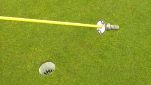 """The """"TAP IT' device created by Lyle Knittig to help make golf contact-free. Tuesday June 2, 2020 (CTV News Edmonton)"""
