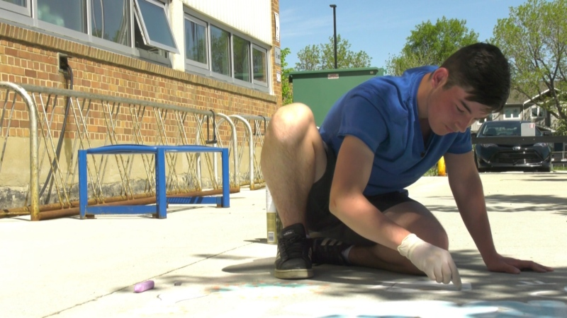 Local artist Braeden Kelly's chalk art has become rather popular over the last few weeks. Tuesday June 2, 2020 (CTV News Edmonton)