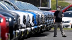 A customer looks at trucks at Longo Toyota during the coronavirus outbreak, Friday, May 8, 2020, in El Monte, Calif. (AP Photo/Mark J. Terrill)