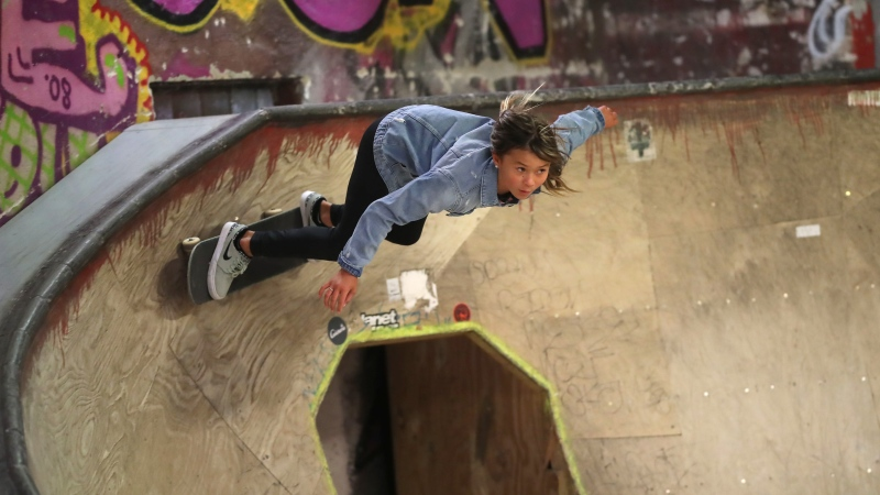Skateboarder Sky Brown skates at the Nike SB Shelter on February 16, 2020 in Berlin, Germany. (Boris Streubel/Getty Images Europe/Getty Images for Laureus/CNN)