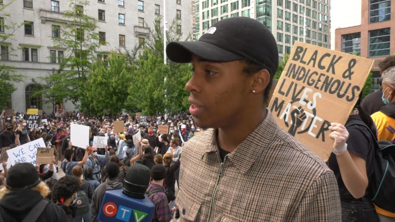 Rally organizer Jacob Callender-Prasad is seen at the Vancouver Art Gallery on May 31, 2020.