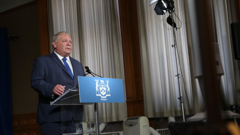 Premier Doug Ford speaks at his daily press briefing at Queens Park in Toronto on Tuesday, June 2, 2020. THE CANADIAN PRESS/Rene Johnston - POOL