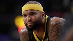 Then-Golden State Warriors' player DeMarcus Cousins in Los Angeles, on April 4, 2019. (Marcio Jose Sanchez / AP)
