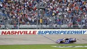 Kevin Harvick wins the NASCAR Nationwide Series Nashville 300 auto race at Nashville Superspeedway in Gladeville, Tenn., on April 3, 2010. (Mark Humphrey / AP)