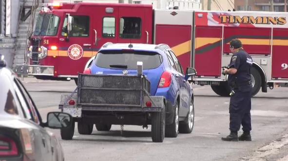 Investigator at scene of crash involving pedestria