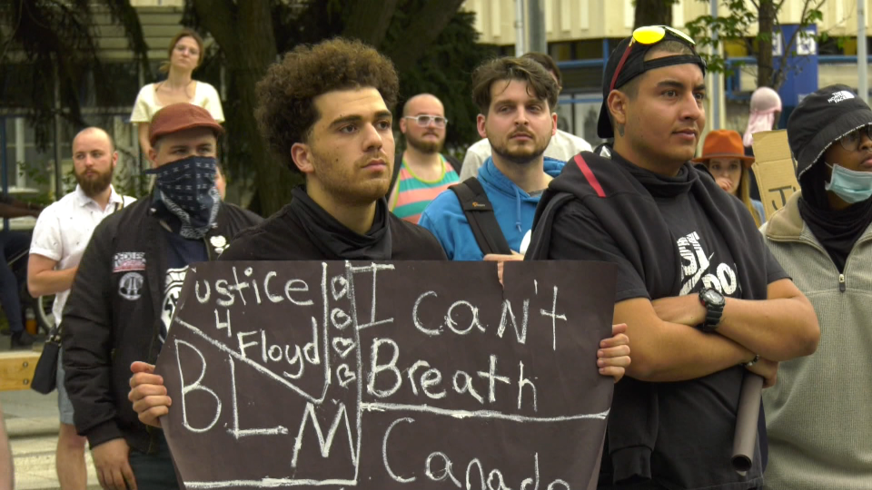 Hundreds of Edmontonians marched from the Alberta legislature to City Hall on June 2, 2020, in protest of the killing of George Floyd and racism.