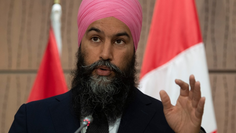 NDP leader Jagmeet Singh responds to a question during a news conference, on June 3, 2020. (Adrian Wyld / THE CANADIAN PRESS)