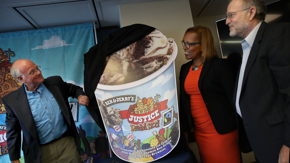 Ben & Jerry's co-founders Ben Cohen (left) and Jerry Greenfield unveil Justice Remix'd. (Win McNamee/Getty Images)