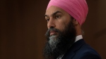 NDP leader Jagmeet Singh listens to a question during a news conference Wednesday June 3, 2020 in Ottawa. THE CANADIAN PRESS/Adrian Wyld