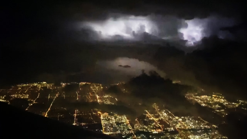 Leah Good captured bursts of lightning as the Westjet flight she was on attempted to land in Toronto on June 2. (Source: Leah Good)