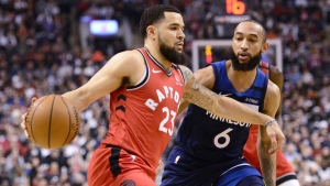 Toronto Raptors guard Fred VanVleet (23) moves past Minnesota Timberwolves guard Jordan McLaughlin (6) during first half NBA basketball action in Toronto on February 10, 2020. THE CANADIAN PRESS/Frank Gunn