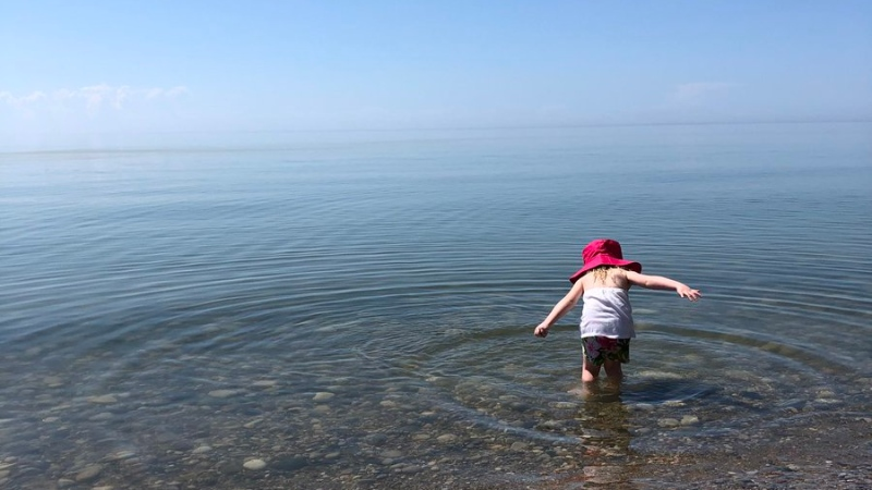 """Social distancing with my granddaughter Hadley in Lake Huron @ShannBradbury @CTVKitchener @KristajSharpe"" (@melrose137 / Twitter)"