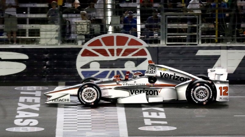 In this June 10, 2017, file photo, Will Power, of Australia, pumps his fist as he crosses the finish line under yellow to win an IndyCar auto race at Texas Motor Speedway, in Fort Worth, Texas. (AP Photo/Tony Gutierrez, File)