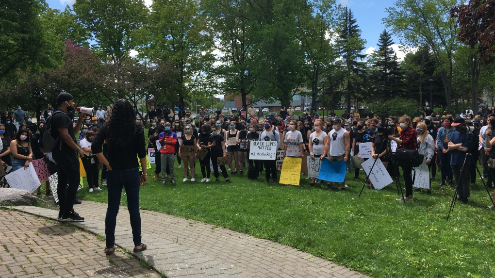 Anti-police brutality protest in downtown Sudbury