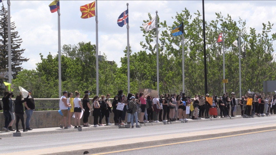 Anti-police brutality march stops on Sudbury's