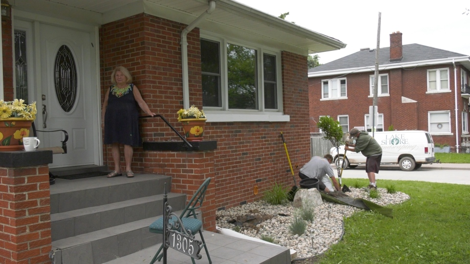 Shirley Horwitz, 89, had her landscaping stolen from her yard, Lakeshore Landscaping restored her property in Windsor, Ont on Wednesday, June 3 2020. (Sijia Liu/CTV Windsor)