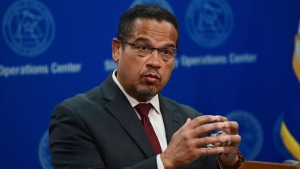 Minnesota Attorney General Keith Ellison answers questions during a news conference in St. Paul, Minn., May 27, 2020. (John Autey/Pioneer Press via AP, Pool)