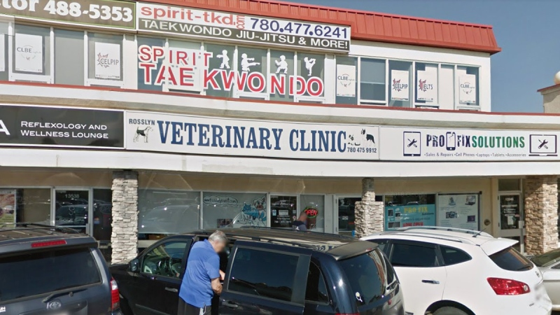 The Rosslyn Veterinary Clinic in north Edmonton is closed after an exposure to COVID-19. June 3, 2020. (Google Maps)