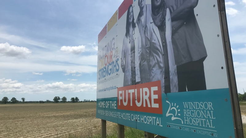 The proposed site of the new acute care hospital at County Road 42 and Concession Road 9 in Windsor on June 3, 2020. (Rich Garton / CTV Windsor)