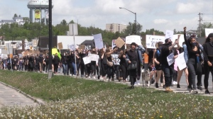 Hundreds of people marched in downtown Sudbury on Wednesday to show their support and fight for change. (Alana Pickrell/CTV News)