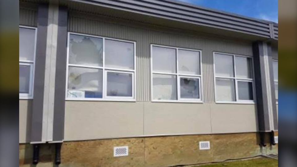 Windows smashed along the side of Fultonvale School. (Strathcona County RCMP)