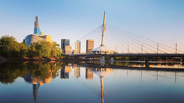 Beautiful sunrise over downtown Winnipeg. Photo by Serge Lachance.