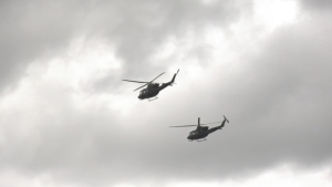 Two CH-146 Griffon helicopters from RCAF 408 Tactical Helicopter Squadron. June 3, 2020. (CTV News Edmonton)
