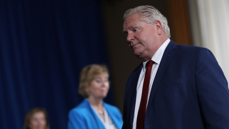 Premier Doug Ford leaves the daily press briefing at Queens Park, in Toronto, Wednesday, June 3, 2020. THE CANADIAN PRESS/Rene Johnston-POOL