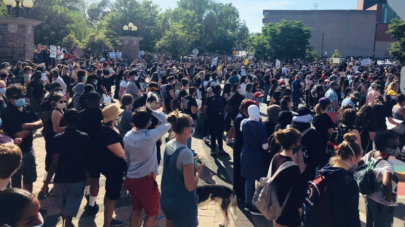 Thousands of people gathered before the peaceful solidarity march began. (Leighanne Evans / CTV Kitchener)