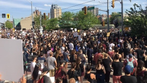 Thousands of people gathered in downtown Kitchener in support of the Black Lives Matter solidarity march. (Provided)