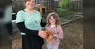 Caitlin and Olivia Newey own four chickens in Kingston. (Kimberley Johnson / CTV News Ottawa)