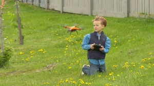 Maddex Scott, 8, flying his new drone thanks to the generosity of an Edmonton man. June 3, 2020. (Jay Rosove)