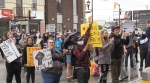 More than 70 people marched the streets of Timmins Wednesday in solidarity with communities protesting racism and race-based violence across the globe. (Sergio Arangio/CTV News)