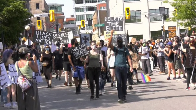 Participants in the KW Solidarity March for Black Lives Matter. (June 3, 2020)