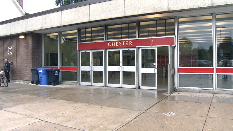 The exterior of the TTC's Chester Station along Line 2 is seen.