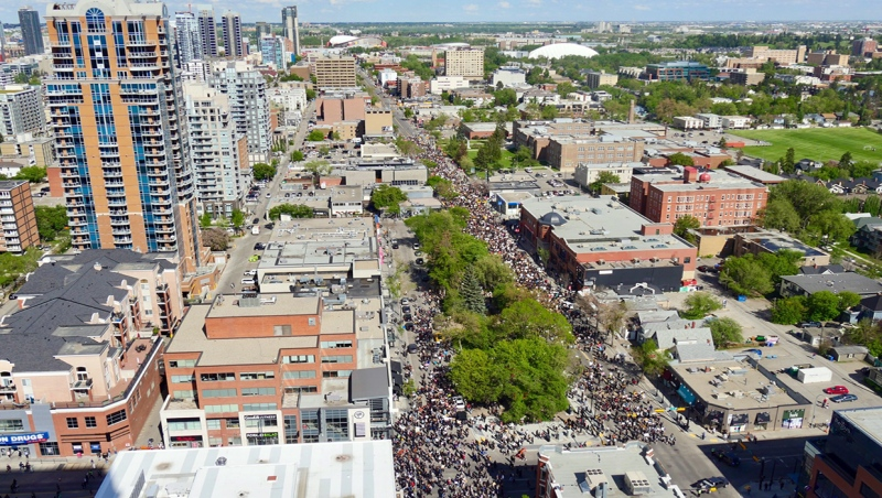 Thousands of Calgarians march in an anti-racism rally Wednesday in downtown Calgary