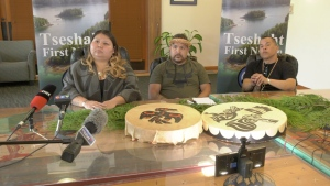 Members of the Tseshaht First Nation hold a news conference after a racist incident on their reserve Tuesday night. (CTV)