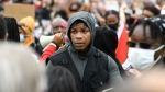 John Boyega at the rally in London's Hyde Park on Wednesday. (DANIEL LEAL-OLIVAS/AFP/Getty Images)