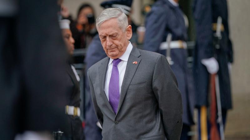 In this Nov. 9, 2018, file photo, Defense Secretary Jim Mattis waits outside the Pentagon. (AP Photo/Pablo Martinez Monsivais, File)