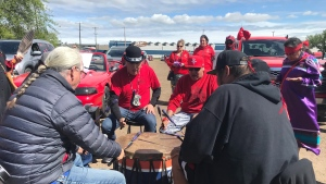 The rally began with ceremonial drumming and speakers in Borden Park. Then a convoy of about 100 vehicles rolled through downtown and past the legislature.