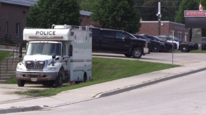 An OPP command centre was set up in Walkeron, Ont. during an incident on Thursday, June 4, 2020. (Scott Miller / CTV London)