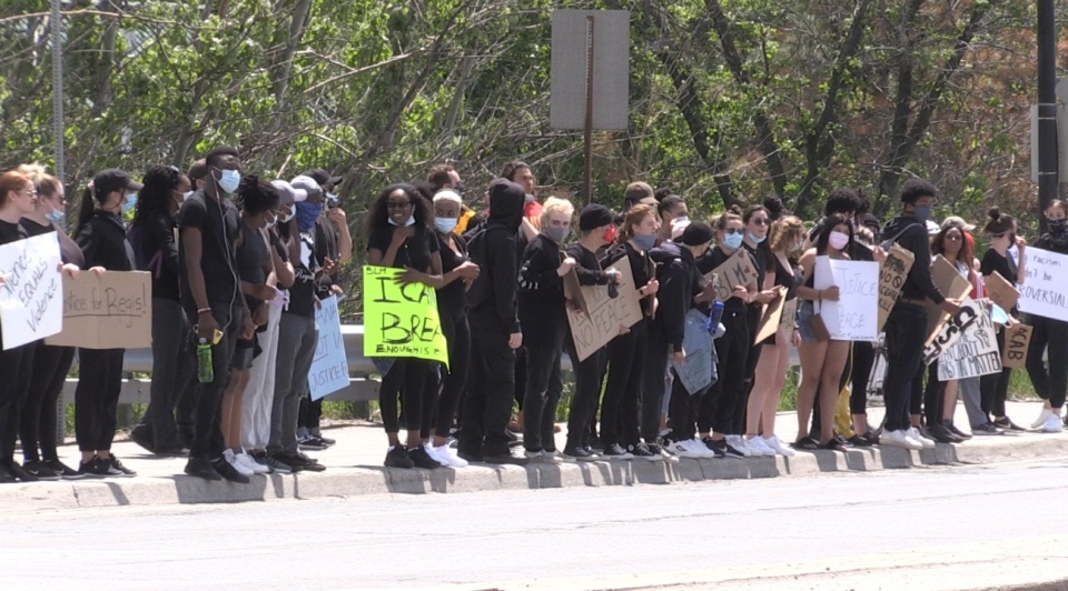 Toughly 200 people who gathered in downtown Sudbury on Wednesday over the noon hour for a Black Lives Matter rally. (Alana Pickrell/CTV News)