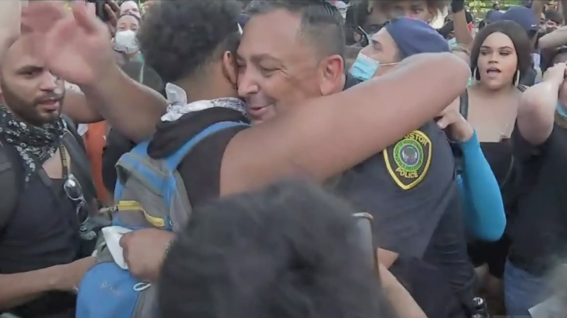 Houston Police chief Art Acevedo hugs protesters