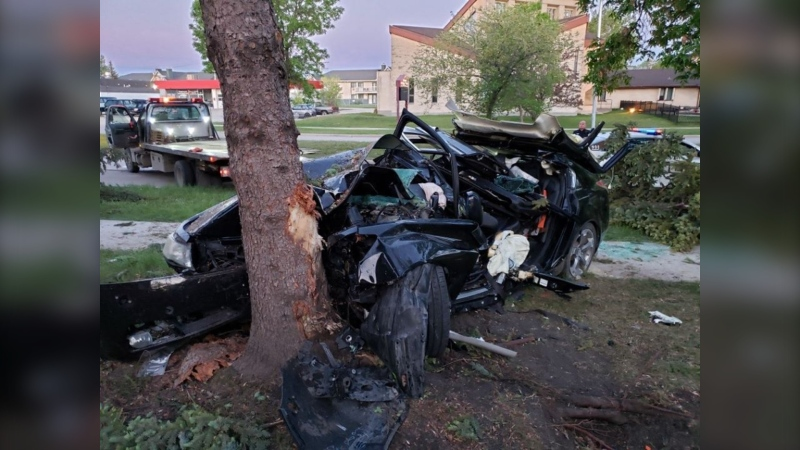 A photo shows the aftermath of a motor vehicle collision that sent four people to hospital in critical condition on Tuesday (Submitted photo)