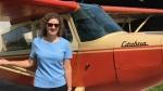 Emily Crombez stands by her own personal aircraft near Tillsonburg, Ont. on Thursday, June 4, 2020. (Sean Irvine / CTV London)